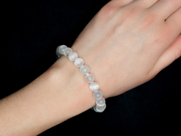 White Selenite Natural Gemstone Bracelet 6-9'' Elasticated-Gemstone Bracelets-Michael's UK Jewellery