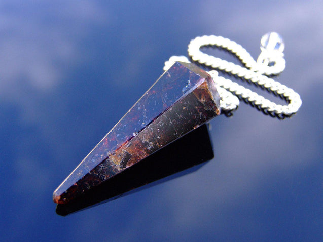 Garnet Natural Gemstone Point Pendulum-Pendulum-Michael's UK Jewellery