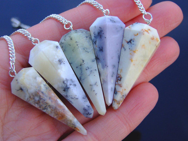 Dendritic Opal Natural Gemstone Point Pendulum-Pendulum-Michael's UK Jewellery