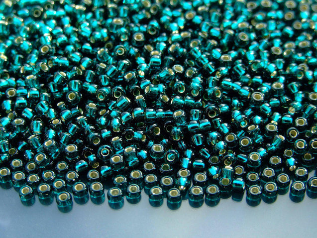 250g 930 Silver Lined Transparent Dark Teal Miyuki Japanese Seed Beads Round Size 8/0 3mm WHOLESALE-Michael's UK Jewellery