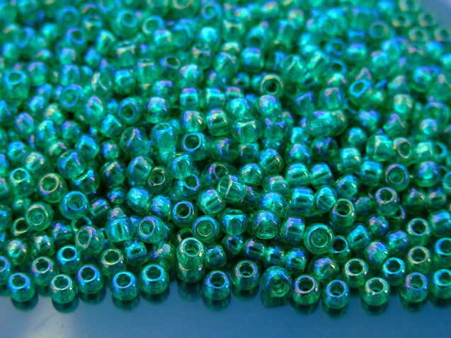 10g 164B Transparent Rainbow Dark Peridot Toho Seed Beads Size 6/0 4mm-TOHO Glass Beads-Michael's UK Jewellery