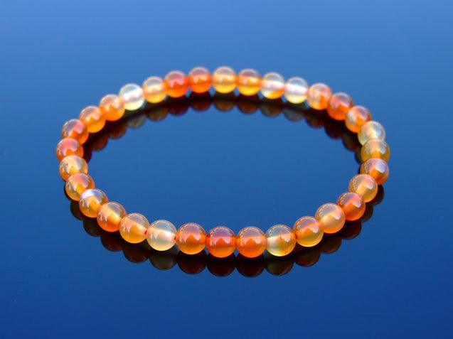 Carnelian 6mm Natural Gemstone Bracelet 6-9'' Elasticated-Gemstone Bracelets-Michael's UK Jewellery