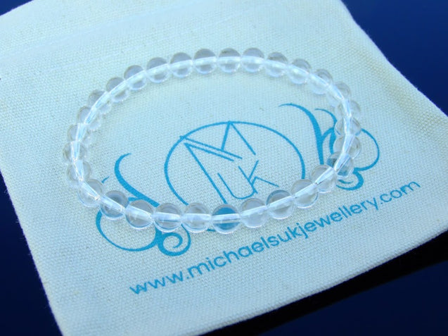 Clear Quartz 6mm Natural Gemstone Bracelet 6-9'' Elasticated-Gemstone Bracelets-Michael's UK Jewellery