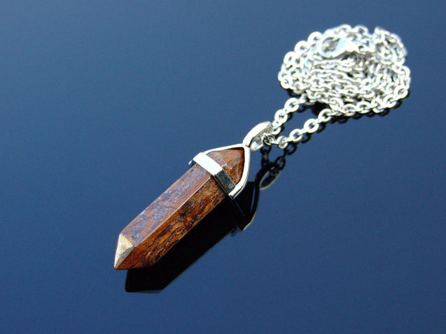 Bronzite Natural Crystal Point Pendant Gemstone Necklace-Gemstone Necklaces-Michael's UK Jewellery