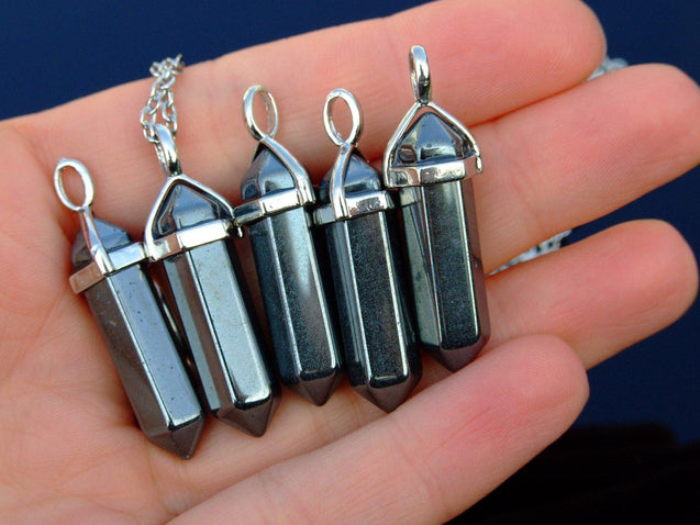 Hematite Natural Crystal Point Pendant Gemstone Necklace-Gemstone Necklaces-Michael's UK Jewellery