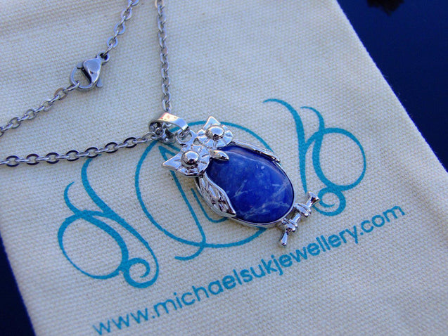 Sodalite Owl Natural Gemstone Pendant Necklace-Pendant Necklace-Michael's UK Jewellery