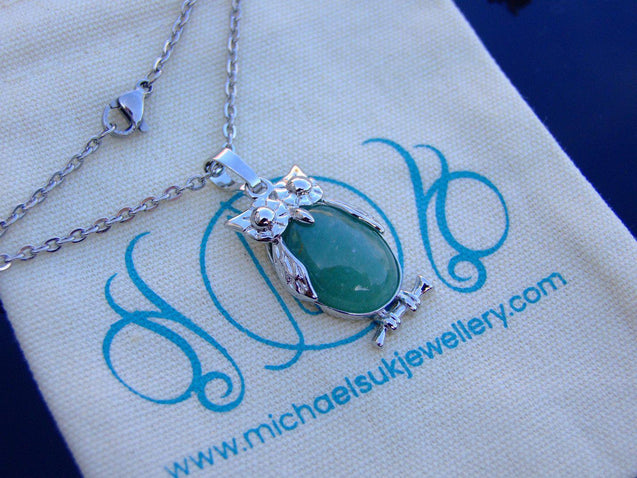 Green Aventurine Owl Natural Gemstone Pendant Necklace-Pendant Necklace-Michael's UK Jewellery