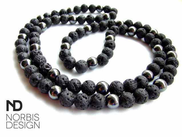 Men's Necklace Hematite/Lava Natural Gemstone 30inch-Gemstone Necklaces-Michael's UK Jewellery