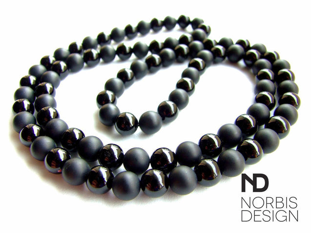 Men's Necklace Onyx/Matte Natural Gemstone 30inch-Gemstone Necklaces-Michael's UK Jewellery