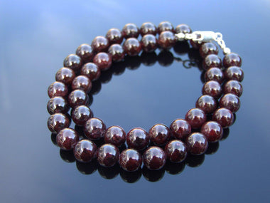Garnet Natural Gemstone Necklace 8mm Beaded 16-30inch-Michael's UK Jewellery