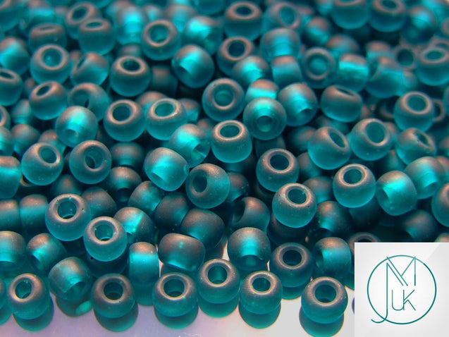 10g 7BDF Transparent Teal Frosted Toho Seed Beads 3/0 5.5mm-TOHO Glass Beads-Michael's UK Jewellery