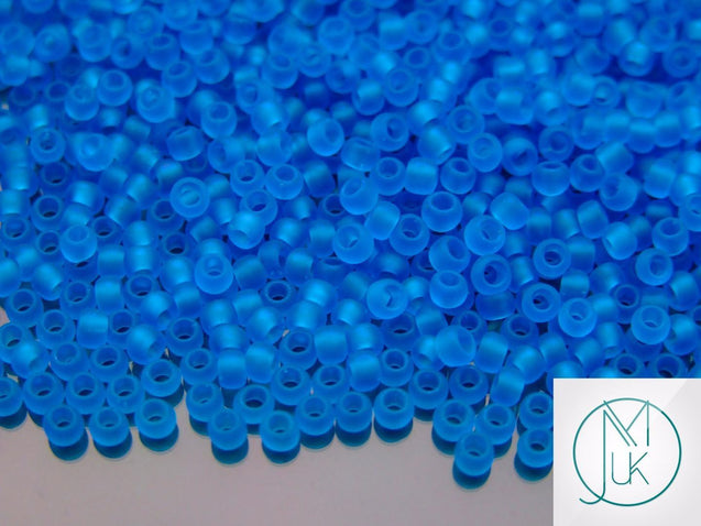 10g 3CF Transparent Dark Aqua Frosted Toho Seed Beads 8/0 3mm-TOHO Glass Beads-Michael's UK Jewellery