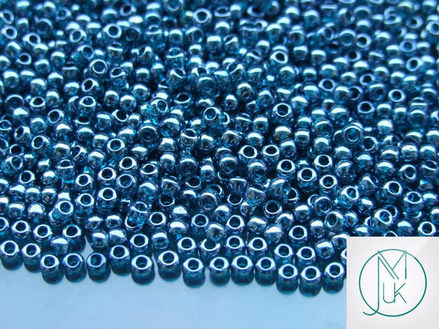 10g 108BD Transparent Teal Lusted Toho Seed Beads 8/0 3mm-TOHO Glass Beads-Michael's UK Jewellery