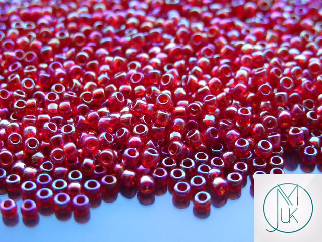 10g 165C Transparent Ruby Rainbow Toho Seed Beads 8/0 3mm-TOHO Glass Beads-Michael's UK Jewellery