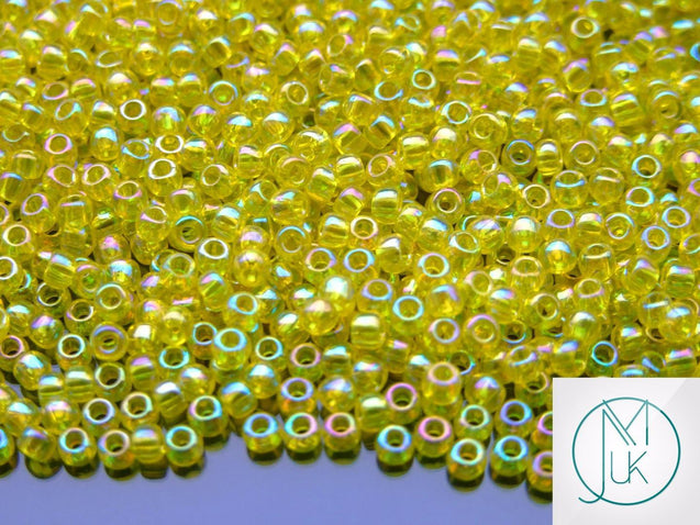 10g 175 Transparent Lemon Rainbow Toho Seed Beads 8/0 3mm-TOHO Glass Beads-Michael's UK Jewellery