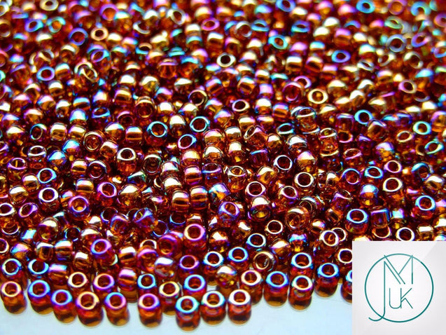 10g 177 Transparent Smoky Topaz Rainbow Toho Seed Beads 8/0 3mm-TOHO Glass Beads-Michael's UK Jewellery