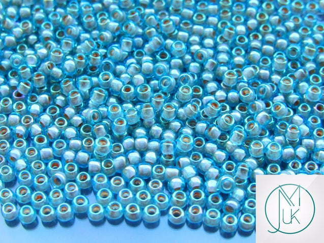 10g 1851 Inside Color Aqua/Brick Rainbow Toho Seed Beads 8/0 3mm-TOHO Glass Beads-Michael's UK Jewellery