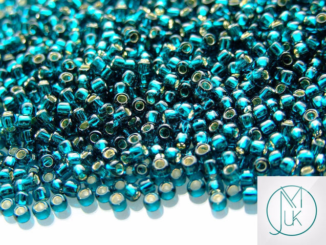 10g 27BD Silver Lined Teal Toho Seed Beads 8/0 3mm-TOHO Glass Beads-Michael's UK Jewellery