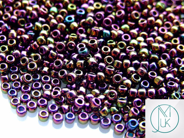 10g 85 Metallic Iris Purple Toho Seed Beads 8/0 3mm-TOHO Glass Beads-Michael's UK Jewellery
