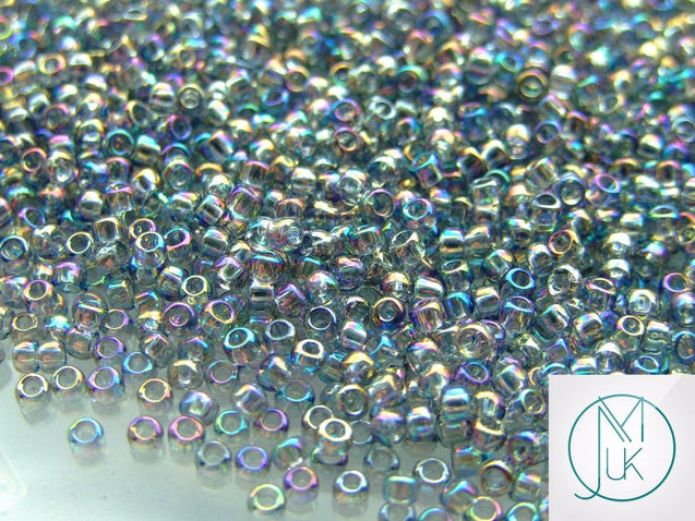10g 176 Transparent Black Diamond Rainbow Toho Seed Beads 8/0 3mm-TOHO Glass Beads-Michael's UK Jewellery