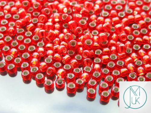 10g 25B Silver Lined Siam Ruby Toho Seed Beads 6/0 4mm-TOHO Glass Beads-Michael's UK Jewellery