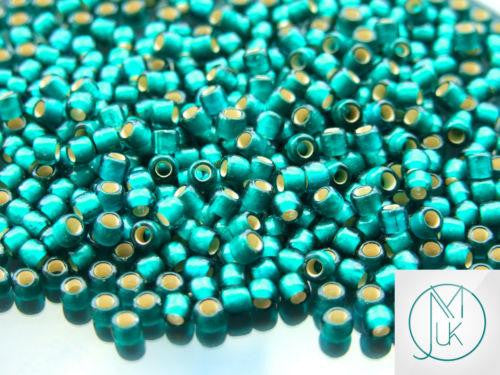 10g 27BDF Silver Lined Frosted Teal Toho Seed Beads 6/0 4mm-TOHO Glass Beads-Michael's UK Jewellery