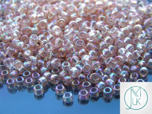 10g 169 Transparent Rosaline Rainbow Toho Seed Beads 6/0 4mm-TOHO Glass Beads-Michael's UK Jewellery
