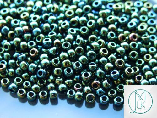 10g 84 Metallic Iris Green/Brown Toho Seed Beads 6/0 4mm-TOHO Glass Beads-Michael's UK Jewellery
