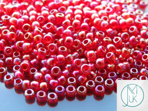 10g Transparent-Rainbow Ruby Red TOHO Seed Beads Japanese 11//0-165C