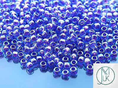 10g 252 Inside Color Aqua/Purple Lined Toho Seed Beads 6/0 4mm-TOHO Glass Beads-Michael's UK Jewellery