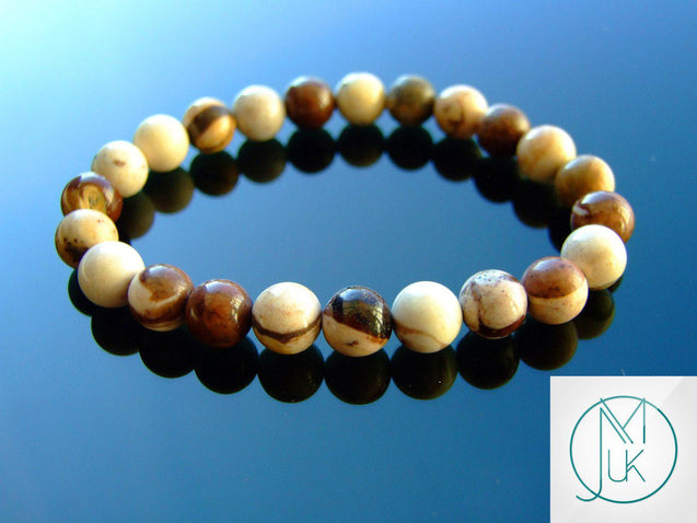 Australian Zebra Jasper Natural Gemstone Bracelet 6-9'' Elasticated-Gemstone Bracelets-Michael's UK Jewellery