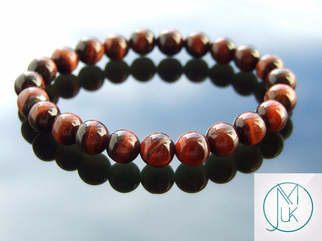 Red Tiger Eye Natural Gemstone Bracelet 6-9'' Elasticated-Gemstone Bracelets-Michael's UK Jewellery