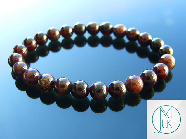 Garnet Natural Gemstone Bracelet 6-9'' Elasticated-Gemstone Bracelets-Michael's UK Jewellery