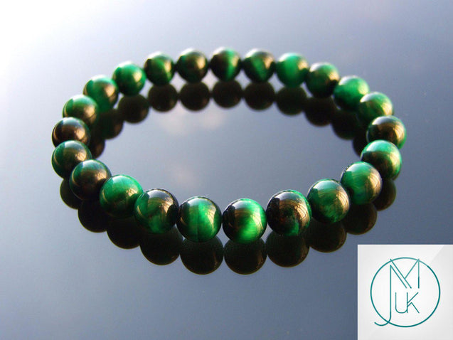 Green Tigers Eye Dyed Natural Gemstone Bracelet 6-9'' Elasticated-Gemstone Bracelets-Michael's UK Jewellery