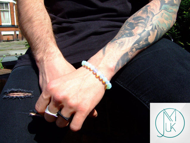 Opalite Manmade Gemstone Bracelet 6-9'' Elasticated-Gemstone Bracelets-Michael's UK Jewellery