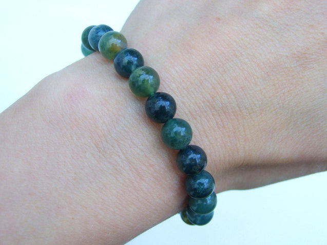 Moss Agate Natural Gemstone Bracelet 6-9'' Elasticated-Gemstone Bracelets-Michael's UK Jewellery