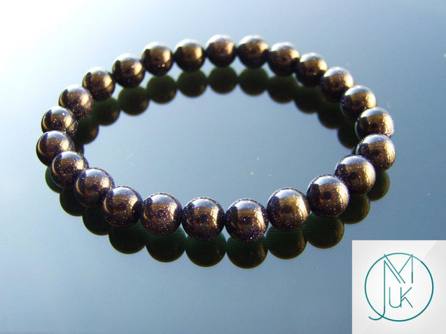Blue Goldstone Manmade Gemstone Bracelet 6-9'' Elasticated-Gemstone Bracelets-Michael's UK Jewellery
