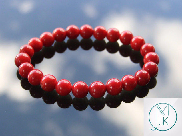 Red Coral Natural Dyed Gemstone Bracelet 6-9'' Elasticated-Gemstone Bracelets-Michael's UK Jewellery