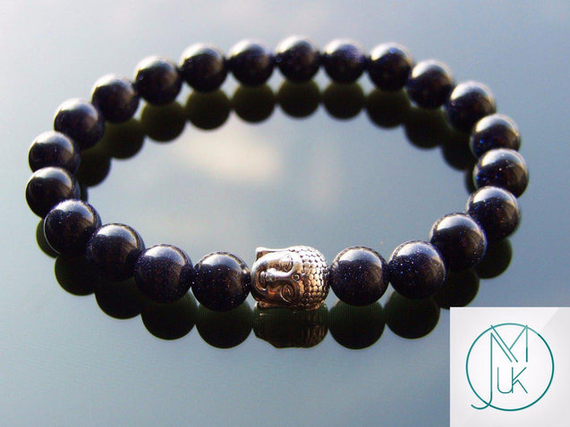 Buddha Blue Goldstone Manmade Gemstone Bracelet 6-9'' Elasticated-Gemstone Bracelets-Michael's UK Jewellery