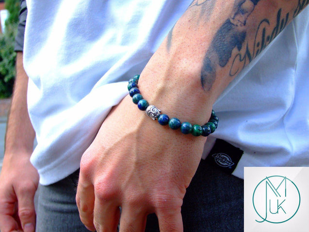 Buddha Chrysocolla Natural Gemstone Bracelet 6-9'' Elasticated-Gemstone Bracelets-Michael's UK Jewellery
