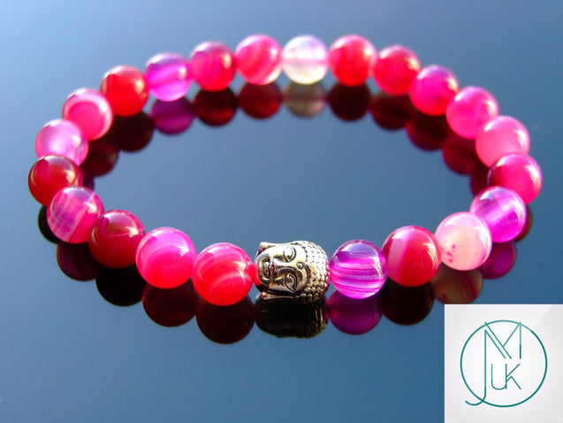 Buddha Fuchsia Banded Agate Dyed Natural Gemstone Bracelet 7-8'' Elasticated-Gemstone Bracelets-Michael's UK Jewellery