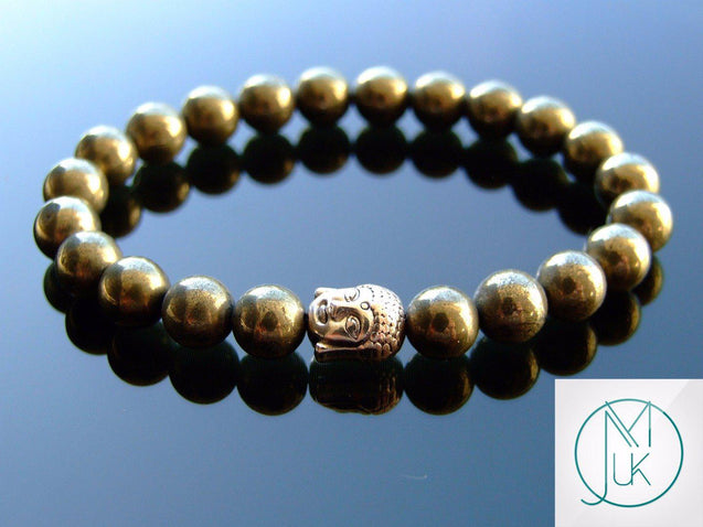 Buddha Pyrite Natural Gemstone Bracelet 6-9'' Elasticated-Gemstone Bracelets-Michael's UK Jewellery