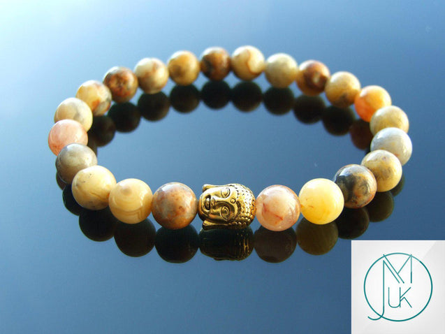 Buddha Crazy Lace Agate Natural Gemstone Bracelet 6-9'' Elasticated-Gemstone Bracelets-Michael's UK Jewellery