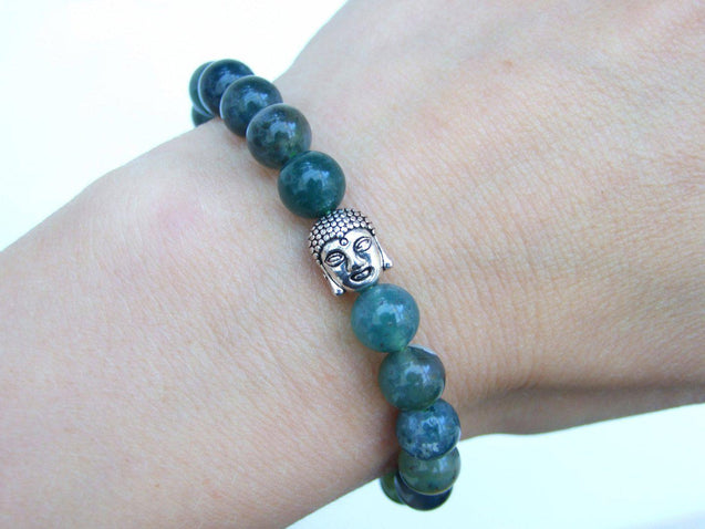 Buddha Moss Agate Natural Gemstone Bracelet 6-9'' Elasticated-Gemstone Bracelets-Michael's UK Jewellery