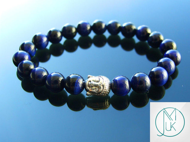 Buddha Blue Tigers Eye Dyed Natural Gemstone Bracelet 6-9'' Elasticated-Gemstone Bracelets-Michael's UK Jewellery