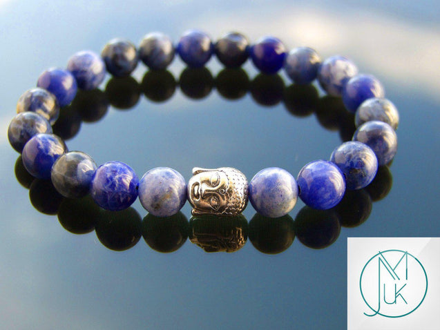Buddha Sodalite Natural Gemstone Bracelet 6-9'' Elasticated-Gemstone Bracelets-Michael's UK Jewellery