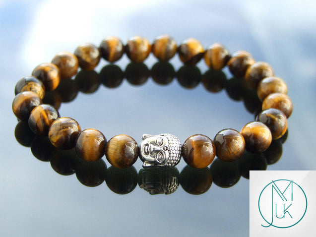 Buddha Yellow Tigers Eye Natural Gemstone Bracelet 6-9'' Elasticated-Gemstone Bracelets-Michael's UK Jewellery