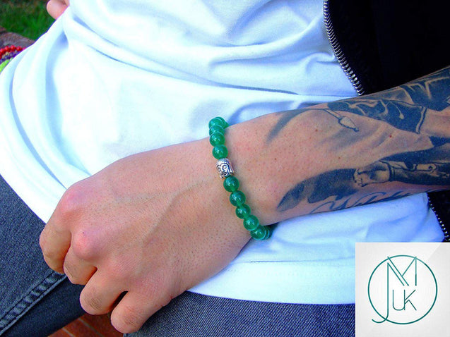 Buddha Green Agate Dyed Natural Gemstone Bracelet 6-9'' Elasticated-Gemstone Bracelets-Michael's UK Jewellery