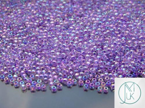 10g 477D Transparent Foxglove Rainbow Toho Seed Beads 11/0 2.2mm-TOHO Glass Beads-Michael's UK Jewellery