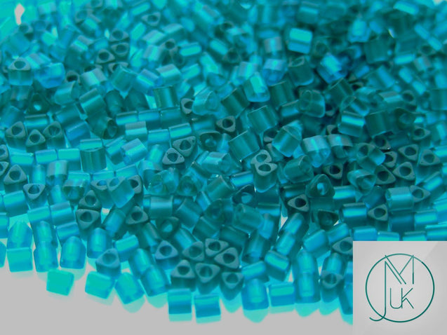 10g 7BDF Transparent Teal Frosted Toho Triangle Seed Beads 8/0 3mm-TOHO Glass Beads-Michael's UK Jewellery